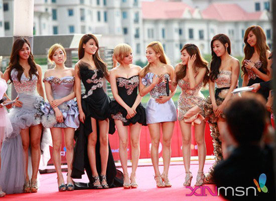 The girls at the red carpet of mnet asian music awards in singapore on